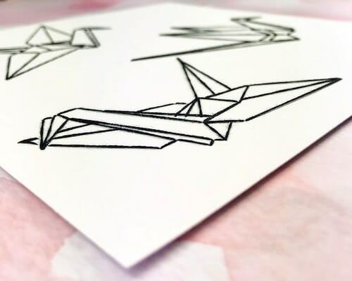 Pulp Stitchin' - Origami Crane Embroidery (detail)