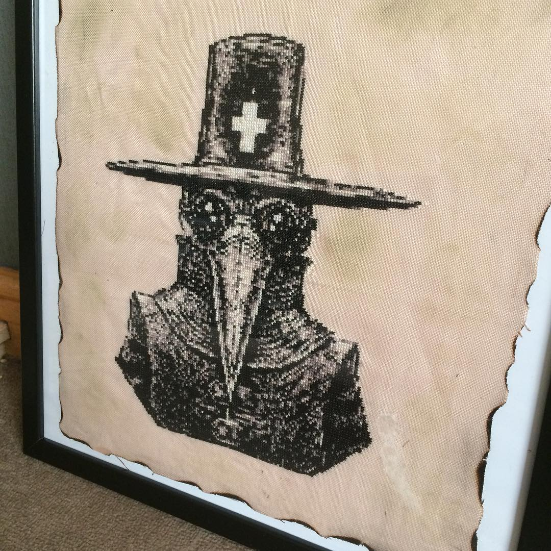 Plague doctor cross stitch by catisacraftyone