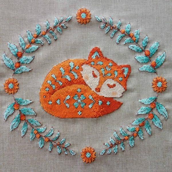 The Pixel Parade's Sleeping Fox Cross Stitch
