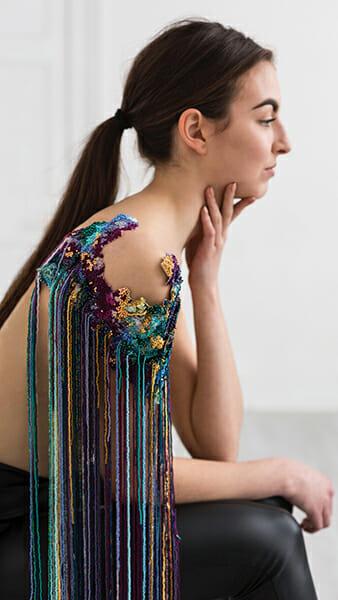 8 - The work of embroidery artist, Emma Wilkinson. Photography: Nina Shahroozi; Model: Brooke Mills
