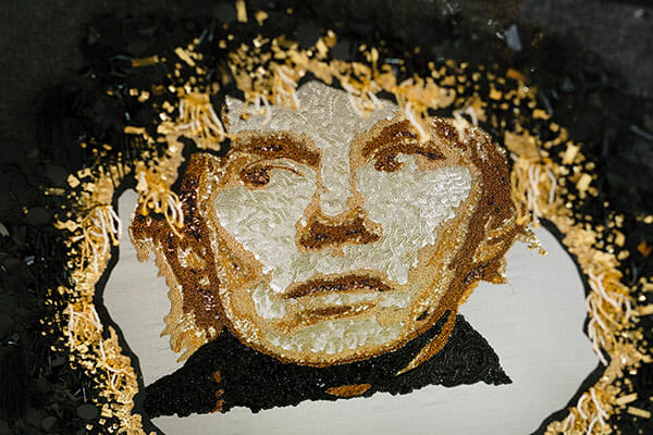 Andy Warhol embroidery 2, by Silvia Perramon Rubio, Hand & Lock Prize for Embroidery, fist place, Textile Art, Open category - Image Credit Jutta Klee