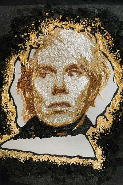 Andy Warhol embroidery, by Silvia Perramon Rubio, Hand & Lock Prize for Embroidery, fist place, Textile Art, Open category - Image Credit Jutta Klee