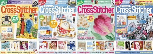 CrossStitcher Magazine covers for January to April 2010