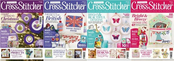 CrossStitcher Magazine covers for January to April 2011