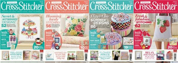 CrossStitcher Magazine covers for May to August 2011