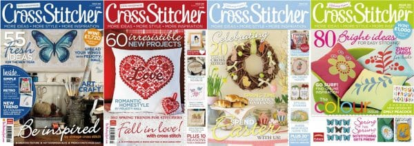 CrossStitcher Magazine covers for January to April 2012