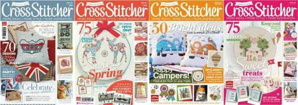 CrossStitcher Magazine covers for May to August 2012