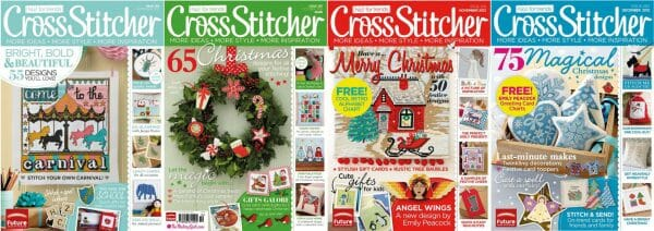 CrossStitcher Magazine covers for September to December 2012