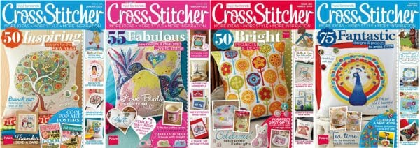 CrossStitcher Magazine covers for January to April 2013