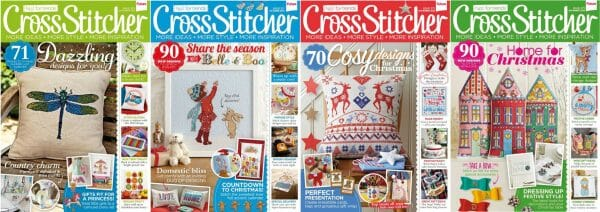 CrossStitcher Magazine covers for September to December 2013