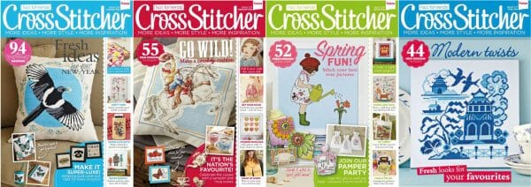 CrossStitcher Magazine covers for January to April 2014