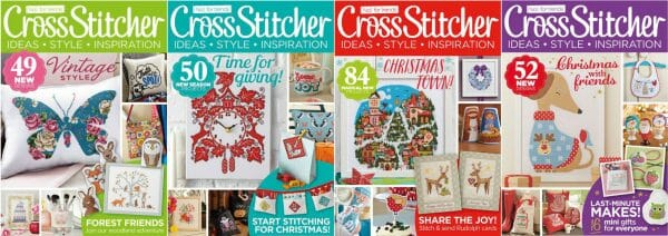 CrossStitcher Magazine covers for September to December 2014