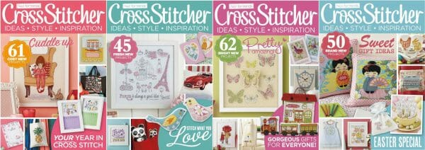 CrossStitcher Magazine covers for January to April 2015