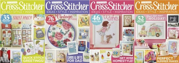 CrossStitcher Magazine covers for May to August 2015