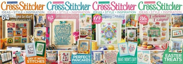 CrossStitcher Magazine covers for January to April 2016