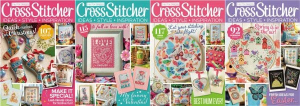 CrossStitcher Magazine covers for January to April 2017