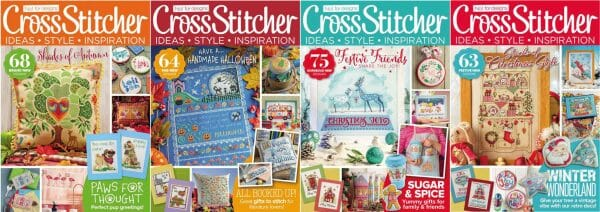 CrossStitcher Magazine covers for September to December 2017