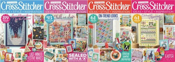 CrossStitcher Magazine covers for January to April 2018