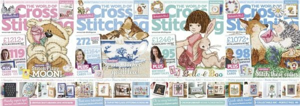The World of Cross Stitching covers for January to April 2016