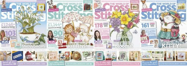 The World of Cross Stitching covers for January to April 2018