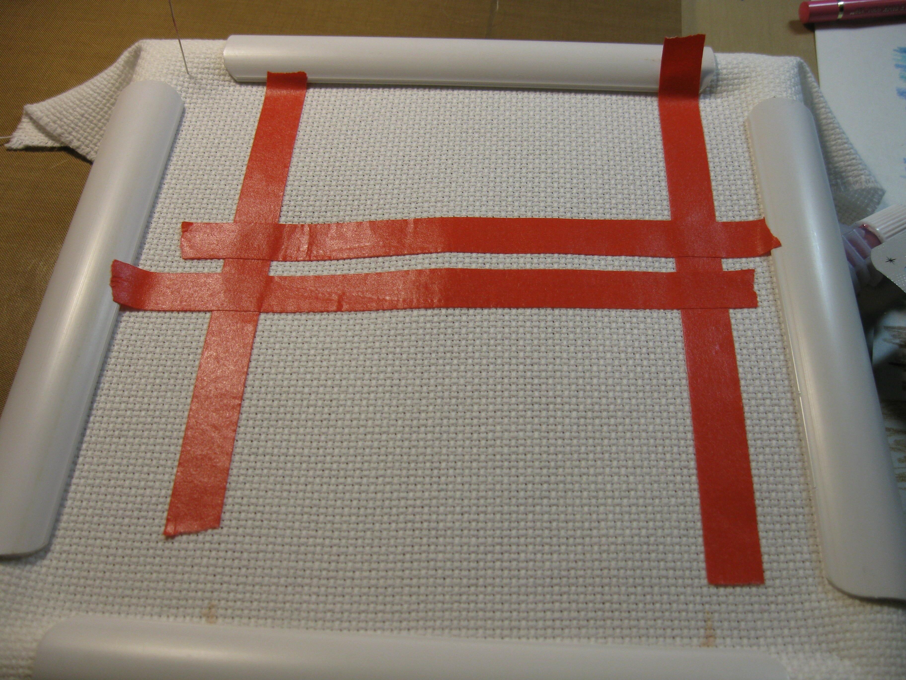 Applying Fabric Paint to Aida Cloth