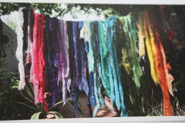 """Washing line envy...Mackay shows it the raw state of her fibres once dyed, ready to use within her """"fluffy"""" paintings."""
