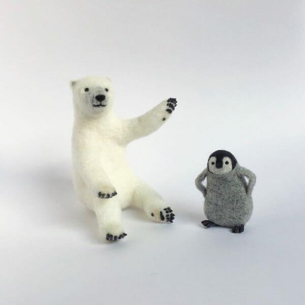 higuma2017's needle felted polar bear and penguin