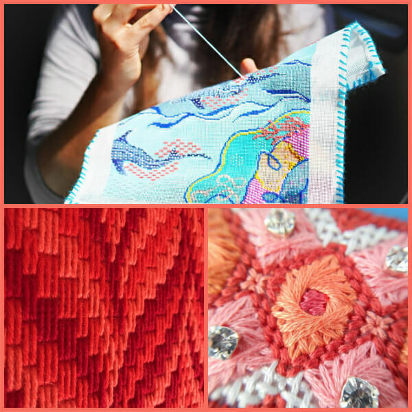 Different needlepoint stitches including Bargellow, Counted Canvaswork and Freestyling