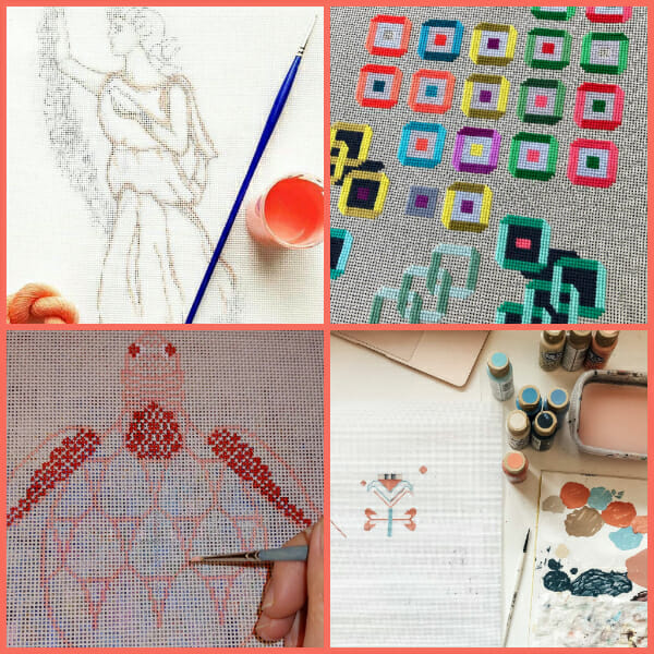 Developing needlepoint designs for canvas via drawing, painting and stitching