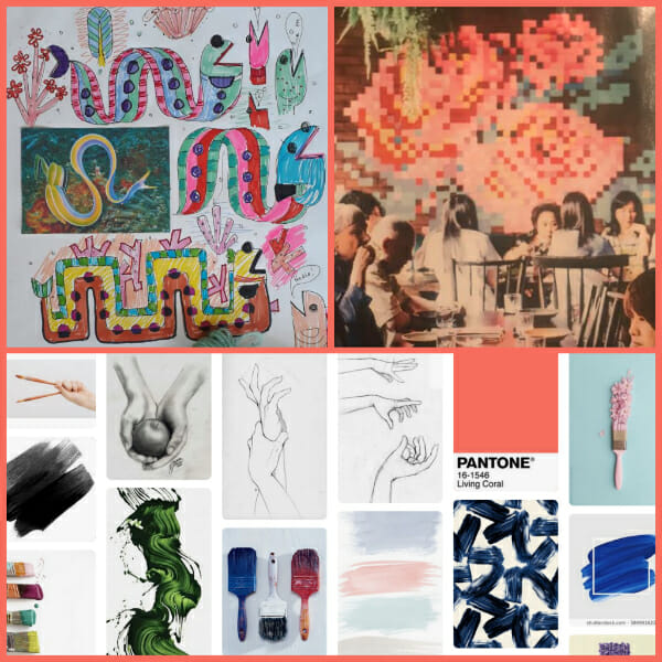 Collage of research carried out by needlepoint designers