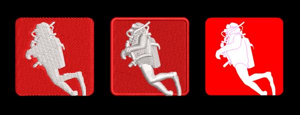 comparisons of scuba diver embroidery design