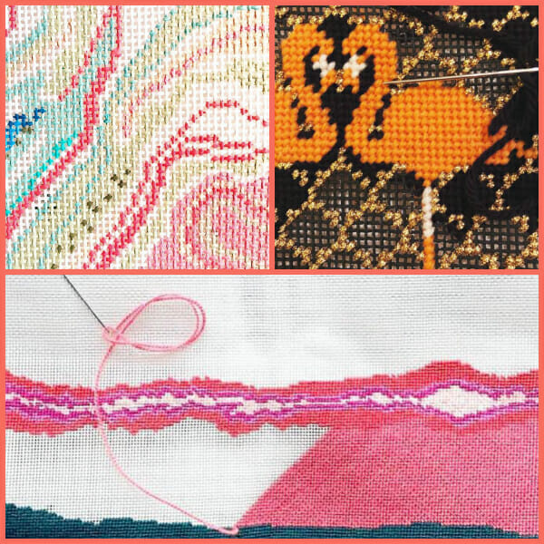 Close ups of abstract needlepoint design with stitched flamingo