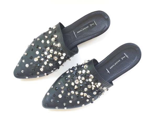 Crystal and stud embroidered shoes, Shlomit Tawfik