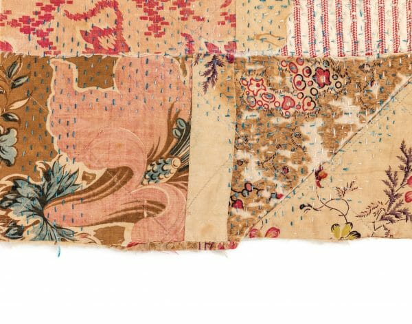 Antique patchwork fragment stabilised with stitches, Hannah Lamb, Poetic Cloth