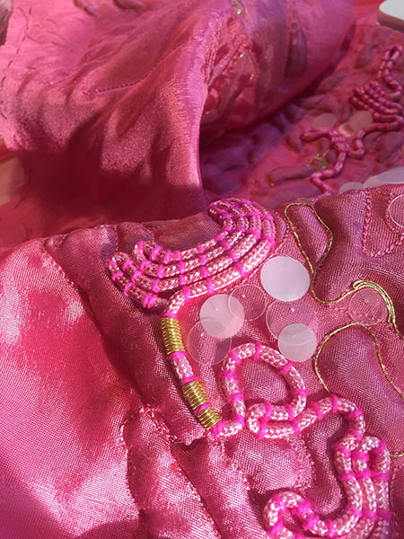 Pink Parka detail, by Fabienne Gassmann, third-place winner in the Hand & Lock Prize for Embroidery, fashion-open category
