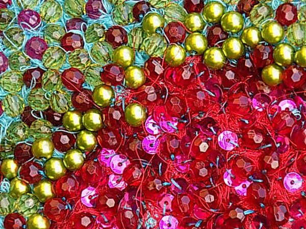 Building texture and depth within surface embellishment - beads and sequins