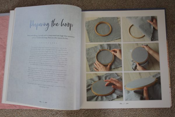 The practical points are covered, such as preparing a hoop.