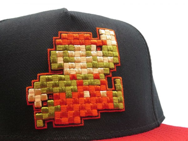Mario Pixel Art Machine Embroidery on a Snapback Hat