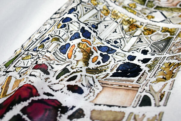 Detail of a stained glass window design digitally printed onto silk georgette, by Suzanne Treacy