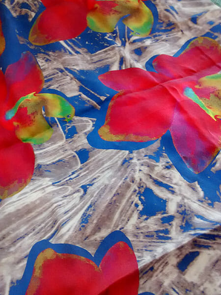 Detail of digital print on silk, by Suzanne Treacy
