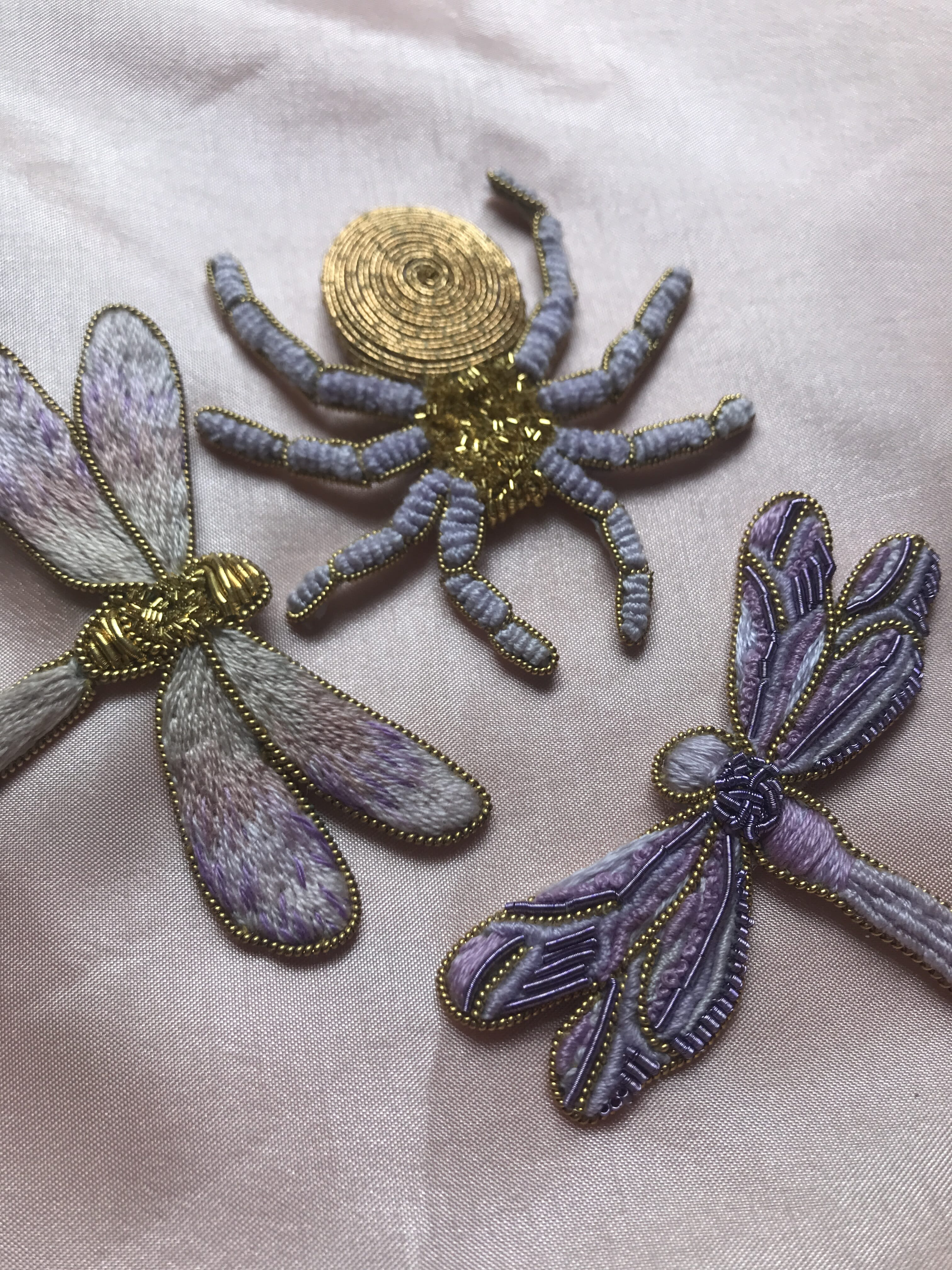 Rie's goldwork spiders