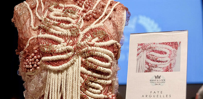 First place, Hand & Lock Prize for Embroidery, student fashion category, by Faye Arguelles