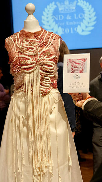 First place, student fashion category, Hand & Lock Prize for Embroidery, by Faye Arguelles