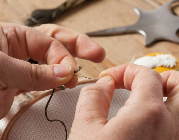 Separating Cross Stitch strands - photo credit Stacy Grant