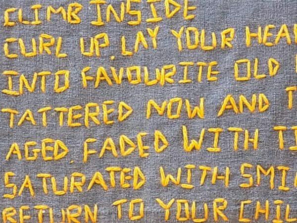 beneath the folds with Christine Cunningham explores Nostalgic Poetry - hand embroidery in Textile Art with examples from 'Climb Inside'