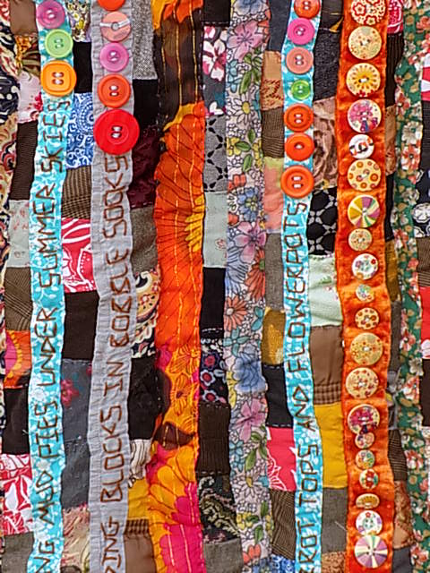 beneath the folds with Christine Cunningham explores Nostalgic Poetry - hand embroidery in Textile Art with examples from 'A spirit untamed'