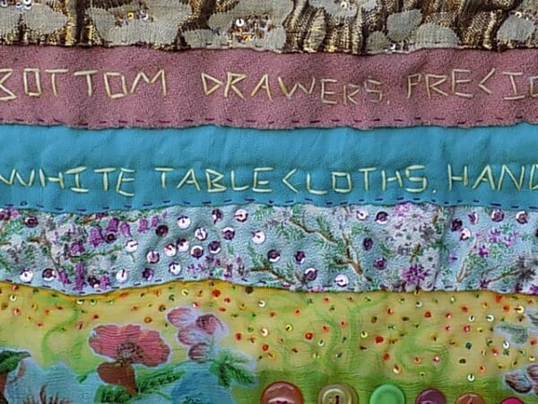 beneath the folds with Christine Cunningham explores Nostalgic Poetry - hand embroidery in Textile Art with an example from 'I miss the lively hearing aids'