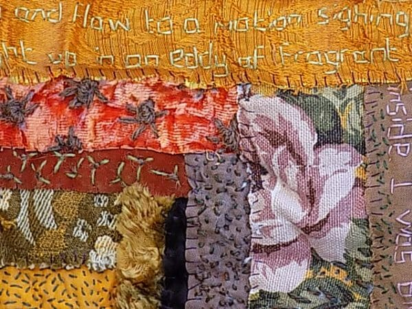 ABSTRACT FLOWER DESIGN IN TEXTILE ART - FADED FABRICS