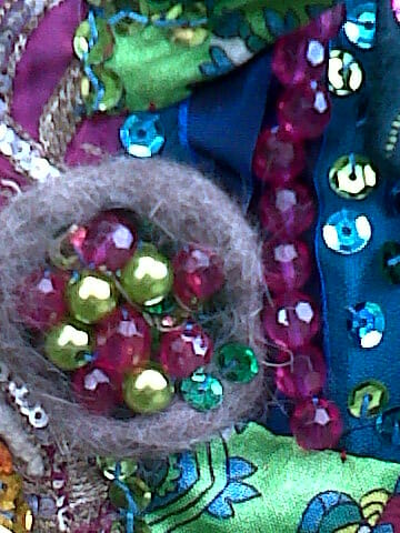 ABSTRACT FLOWER DESIGN IN TEXTILE ART - USING CAT HAIR