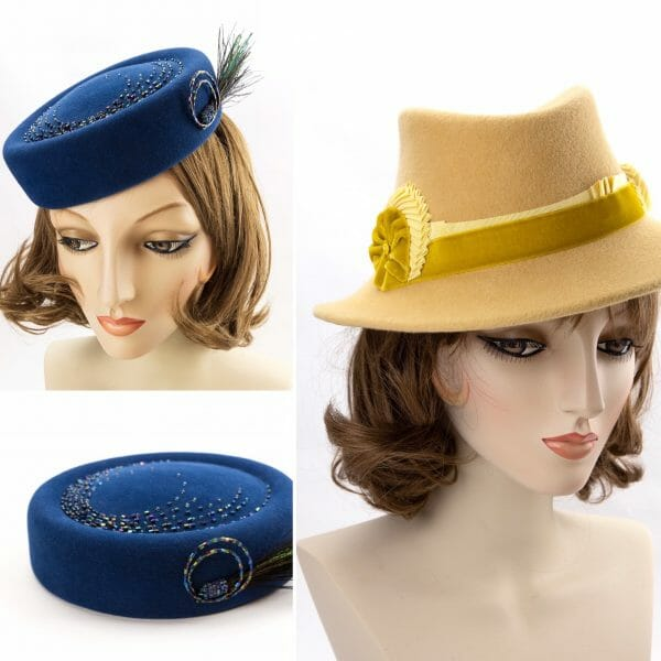 Blue button hat and yellow fedora